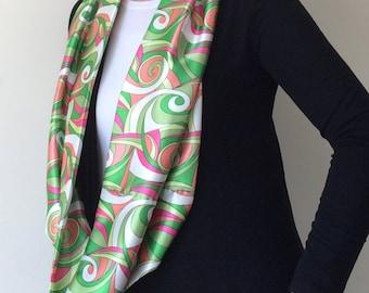 Geometric Scarf, Satin Foulard, Wearable Art, Mother Gift, Boho Circle Scarf, Loop Scarf, Printed Silk Scarf, Infinity Scarf, Birthday Gift