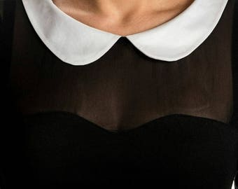 Extravagant dress/ Little black dress/ schoolgirl dress/ mini dress/ party dress/ white collar dress/ short dress/ casual dress