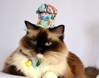 Fancy hats for cats - Chef Cook Hat with matching bow tie for cats - Cotton hats for cats with bow tie, cute charm, cat bellBlack Friday