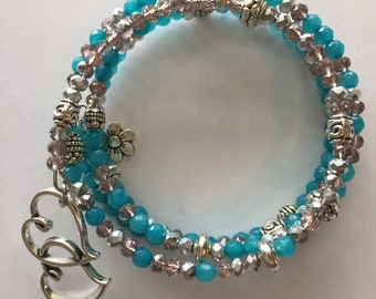 turquoise and silver wire wrap bracelet
