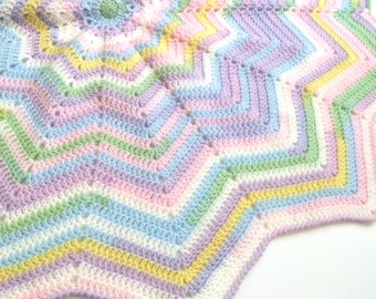 Star blanket, pastel striped crochet afghan, baby blanket