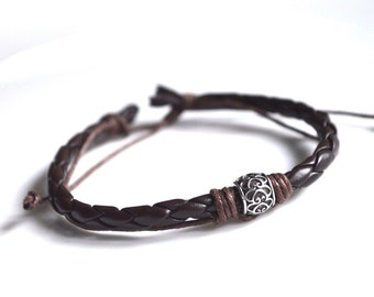 Bead bracelet brown leather silver