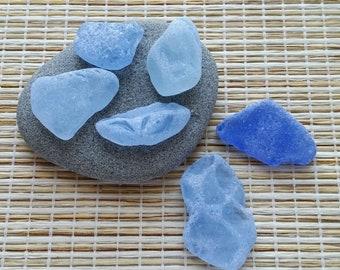 Rare genuine sea glass, cornflower blue sea glass. Surf tumbled beach glass. For sea glass pendants, beach decor, mosaic, sea glass art#517#