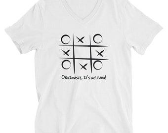 UNIKTZ Tic Tac Toe Short Sleeve V-Neck T-Shirt