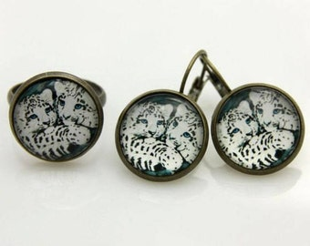 snow leopard jewelry set earrings and ring 1616