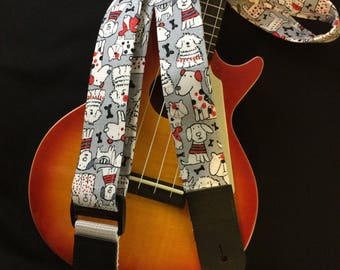 Ukulele strap, mandolin strap or child guitar strap // cute kawaii cartoon white dogs with black and red highlights on a grey background