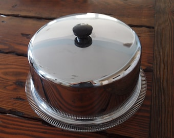 Vintage Chrome Cake Cover with Base