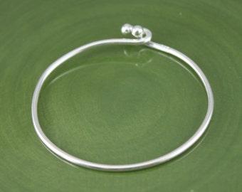Sterling Silver 1.5mm Wire Bangle / Bangle Bracelets / Charm Bracelet / Jewelry Supply / Cuff / European Charm Bangle / SCBR036