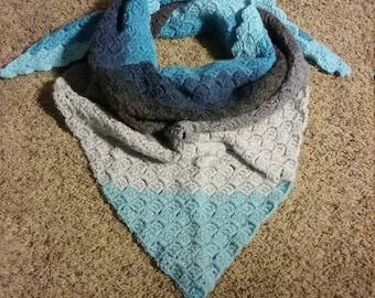 Triangle scarf, crochet shawl, ready to ship