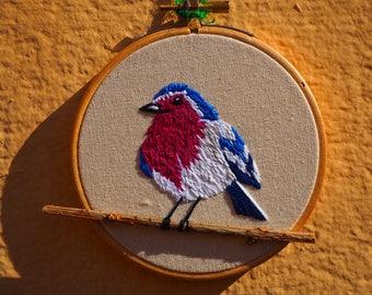 Bird Garnet beaded branch