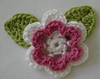 Crocheted Flower with Leaves - Rose Pink and White - Crocheted Flower Appliques - Crocheted Flower Embellishments - Cotton Flower and Leaves