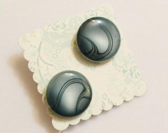 Blue Stud Earrings, Button Jewelry