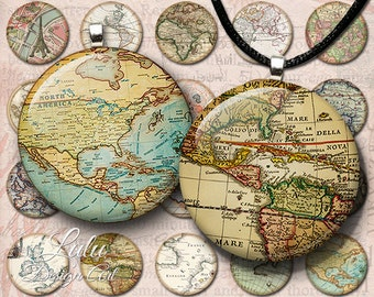 Vintage Maps Circles - Instant Download, Antique Maps, World Map, 1 inch circle images, bottle cap images, printable images, round images