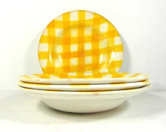 Yellow tartan Digoin soup serving bowls or soup dishes, circa 1950s, French vintage dinnerware.