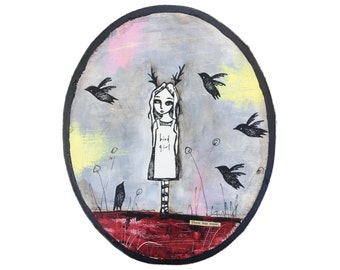 Bird Girl. Acrylic paint, ink and collage on wood