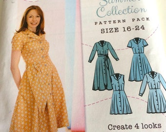 Threaders 'Charlie' Shirt Dress Retro Sewing Pattern Uncut UK Sizes 16-24