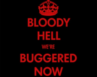 American Apparel Ladies Hoodie - Bloody Hell were Buggered Now - Red on Black