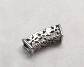 SB3 Sterling Slider Bead with Cutout Details Square Shape Large Hole