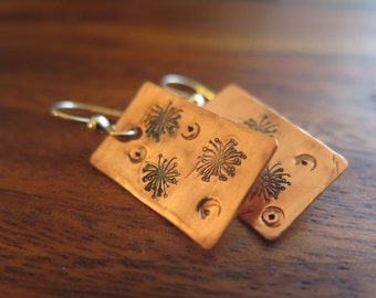 Stamped Copper and Sterling Silver Earrings