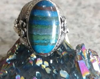 Rainbow Calsilica Party Ring  Size 7 1/2