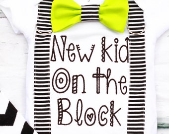 Baby Boy first Birthday New Kid On The Block, Boy Onesie, Baby Boy Baby Shower Gift, Baby boy Bow tie Suspenders, Newborn baby Boy Outfit,