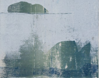 """Original image, Monotype """"Fragments 3"""", sheet size din A4, motif size 15 x 21 cm, street, trees, abstract landscape"""