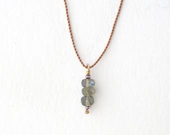 LABRADORITE Pendant Necklace / Stacked Stones / Short Layering Necklace // CAIRN Necklace