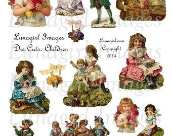 VINTAGE CHILDREN digital collage sheet, Victorian girls boys flowers, Nursery Rhymes Die Cuts printables cards crafts art, Ephemera DOWNLOAD