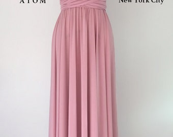 Rose Pink LONG Floor Length Ball Gown Infinity Dress Convertible Formal Multiway Wrap Dress Bridesmaid Dress Party Evening Dress Wedding