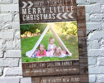 Photo Christmas Card Template: Rustic Christmas Pallet Wood Have Yourself a Merry Little Christmas Custom Photo Holiday Card Printable
