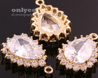 2pcs-23mmX15.50mmGold plated Large Cubic zirconia Tear Drop Pendants-Clear(M322G)