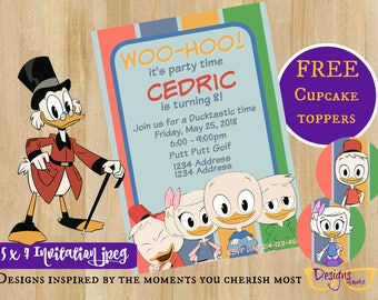 Ducktales Huey Dewey Louie Birthday Celebration Party Invitations  - 5 x 7 Birthday Invitation - Digital Download