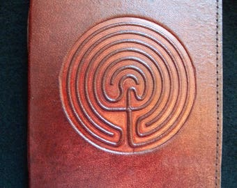 Druid Celtic LABYRINTH - Handmade Leather Journal Diary - Pagan Wicca Book of Shadows