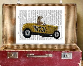 Meerkat in Hot Rod Wall Art Giclee Print Acrylic Painting Illustration Yellow Car Meerkat Print wall art wall decor Wall Hanging racing