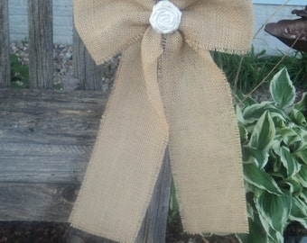 Rustic Burlap Bows SET of 6 or 8, Rustic Wedding Bow, Burlap Pew Bow, Chair Bow, Rustic Country Barn Shabby Chic Wedding, Bow with Rosette