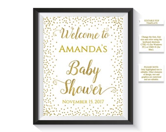 EDITABLE Welcome To Baby Shower Sign, Personalized Baby Shower Welcome Sign, Gold confetti Baby Shower Decor, Printable Digital PDF template