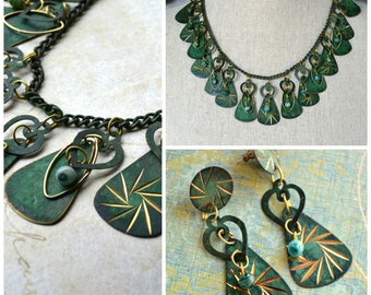 Verdigris green copper patina necklace and earring set. Boho.