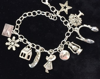 """Book, Theme, Shack, Silver Plated Bracelet, Pewter Charms, 8"""" long"""