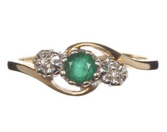 Vintage Ring - 9ct Gold, Emerald and Diamond Ring, size O (UK) 7 (USA)