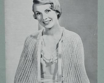 Vintage 1940s Knitting Pattern Women's Lacy Bed Cape Shawl Wrap Capelet 40s original pattern Bestway (UK) no 2208 bedroom wear
