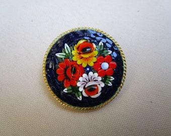 Old micro mosaic brooch-Italy