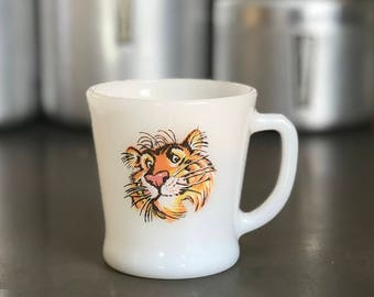 Vintage Fire King Milk Glass Tiger Mug, Esso Exxon Advertising Collector, Anchor Hocking Fire King Mug, Coffee Cup