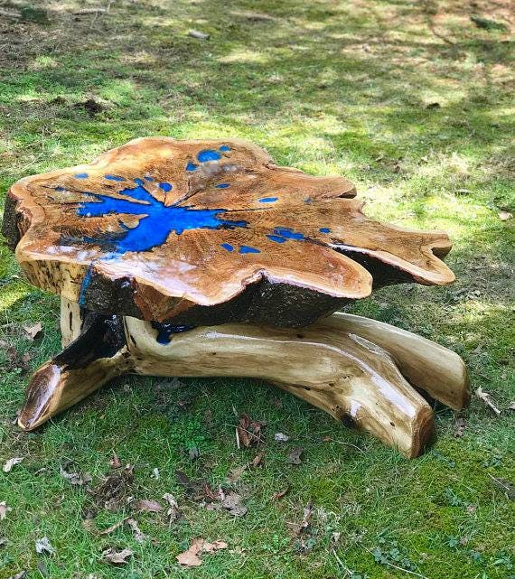 Epoxy Driftwood Table: Stump Table Live Edge Table Rustic Table Epoxy Resin Table
