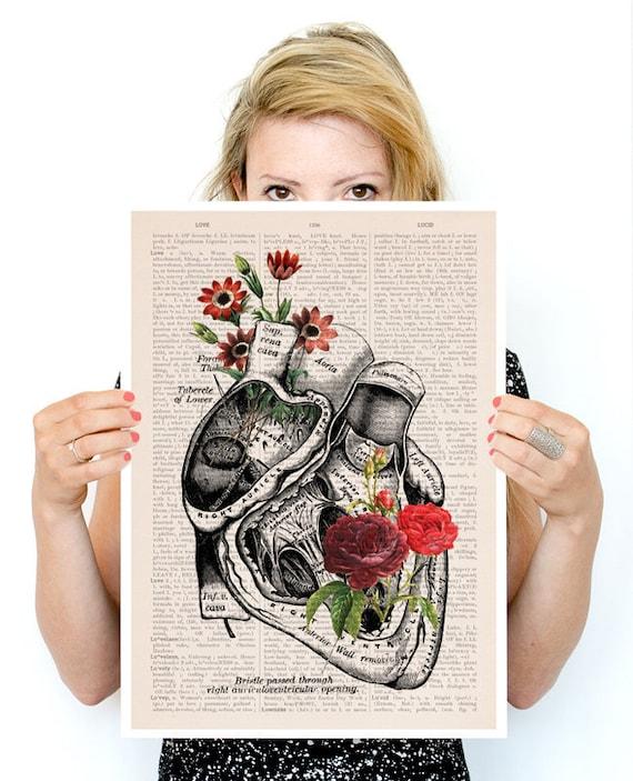 Flowery Heart Poster, anatomy art, wall art, wall decor, poster, anatomy, anatomy poster, science, medical art, human heart, SKA080PA3