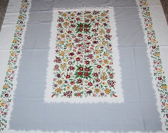 Vintage Tablecloth 1950's Gray with Stunning Floral Prints