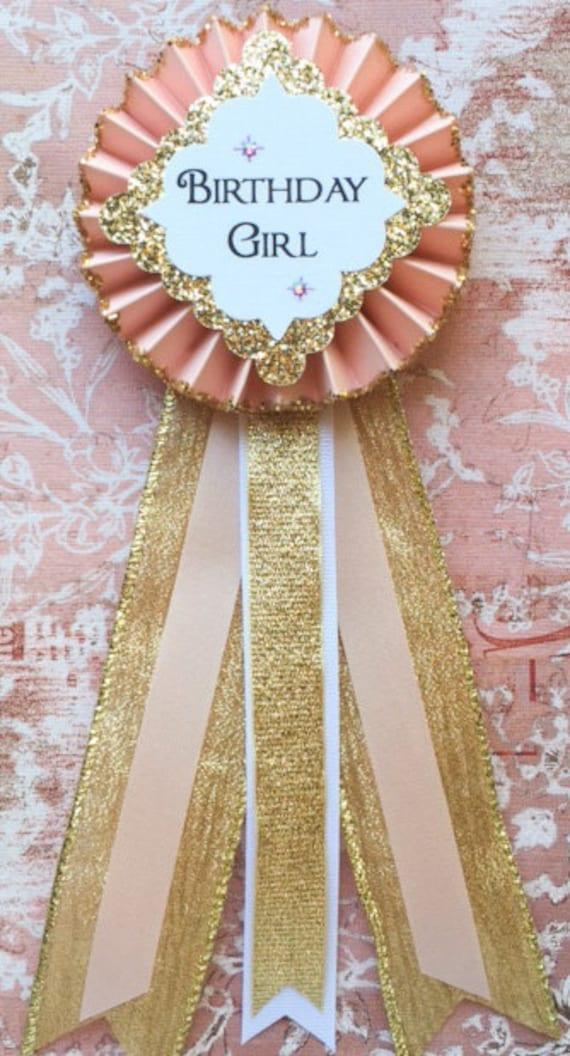 Im the Birthday Girl pin back badge long tail