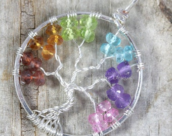 Rainbow Tree of Life Pendant Silver Wire Wrap Jewelry Garnet Citrine Peridot Blue Topaz Amethyst Mixed Gemstone Chakra Pride Necklace