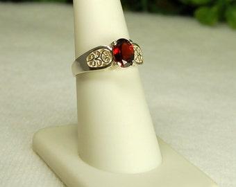 Garnet Ring, Size 7, Deep Claret Red, Sterling Silver, January Birthstone, Natural Garnet, Deep Red Garnet, Oval Garnet