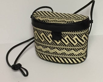 Vintage Talbots Raffia, Straw, Crossbody, Shoulder Bag, Black and White Woven Purse