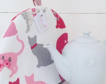 Tea Cosy, Cats Tea Cosy, Tea Cosy, Cats, Pink Cats, Grey Cats, Red Cats, Time for Tea, Kitchen Accessory, Gift for Her, Kitchen, Gift, Tea